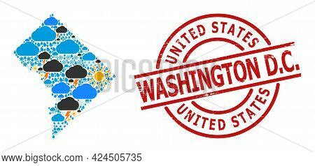 Weather Mosaic Map Of Washington Dc, And Textured Red Round Seal. Geographic Vector Mosaic Map Of Wa