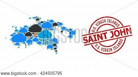 Climate Collage Map Of Saint John Island, And Textured Red Round Badge. Geographic Vector Collage Ma