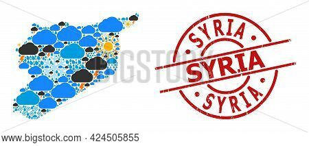 Climate Mosaic Map Of Syria, And Distress Red Round Stamp. Geographic Vector Collage Map Of Syria Is