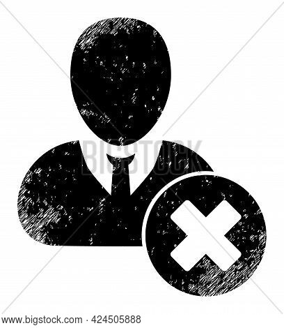 Wrong User Icon With Grunge Style. Isolated Vector Wrong User Icon Image With Grunge Rubber Texture