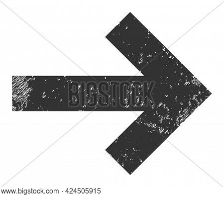Right Direction Arrow Icon With Grunge Effect. Isolated Vector Right Direction Arrow Icon Image With