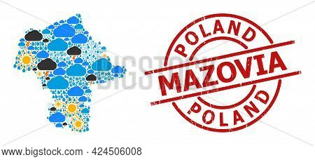 Weather Collage Map Of Mazovia Province, And Grunge Red Round Stamp. Geographic Vector Collage Map O