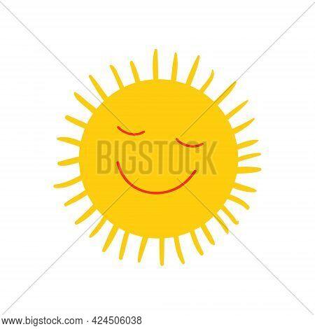 Cute Smiling Sun Icon Vector Summer Illustration For Kid Scandinavian Print Or Poster. Cartoon Doodl