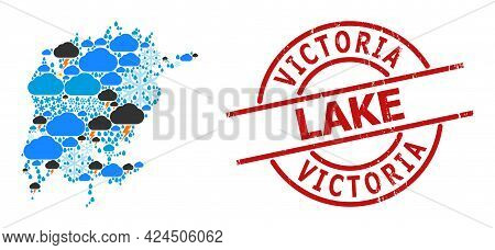 Weather Pattern Map Of Victoria Lake, And Scratched Red Round Stamp. Geographic Vector Concept Map O
