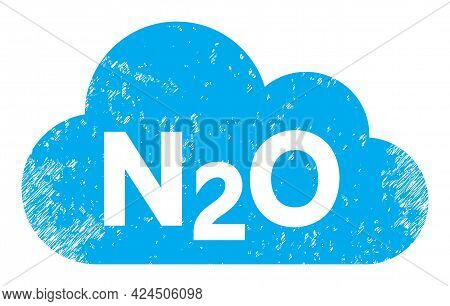Nitrous Oxide Gas Icon With Scratched Effect. Isolated Vector Nitrous Oxide Gas Icon Image With Scra