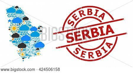 Climate Pattern Map Of Serbia, And Textured Red Round Seal. Geographic Vector Concept Map Of Serbia