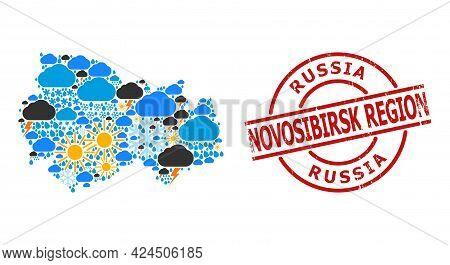 Weather Collage Map Of Novosibirsk Region, And Scratched Red Round Seal. Geographic Vector Collage M