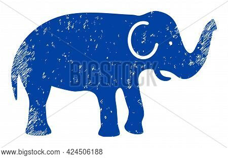 Elephant Icon With Scratched Effect. Isolated Vector Elephant Symbol With Scratched Rubber Texture O