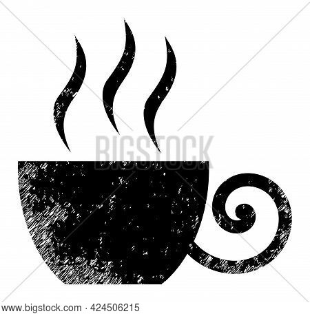 Coffee Cup Icon With Scratched Style. Isolated Vector Coffee Cup Icon Image With Scratched Rubber Te