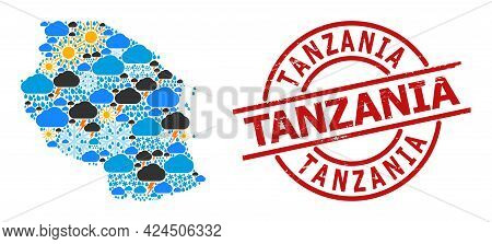 Weather Pattern Map Of Tanzania, And Rubber Red Round Stamp. Geographic Vector Collage Map Of Tanzan