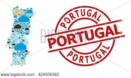 Climate Mosaic Map Of Portugal, And Distress Red Round Badge. Geographic Vector Mosaic Map Of Portug
