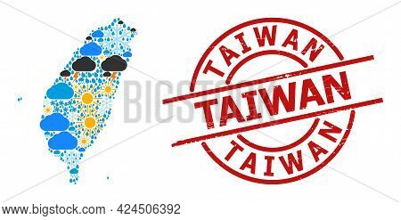 Climate Mosaic Map Of Taiwan, And Rubber Red Round Seal. Geographic Vector Composition Map Of Taiwan