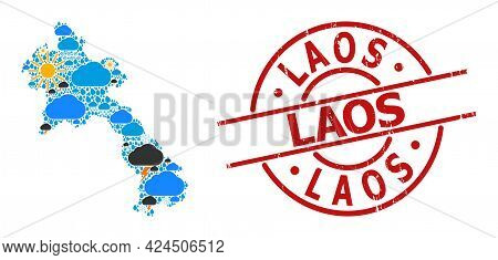 Climate Mosaic Map Of Laos, And Textured Red Round Seal. Geographic Vector Mosaic Map Of Laos Is Com