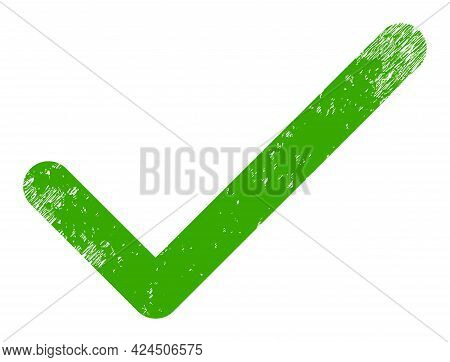 Apply Tick Icon With Scratched Style. Isolated Vector Apply Tick Icon Image With Scratched Rubber Te