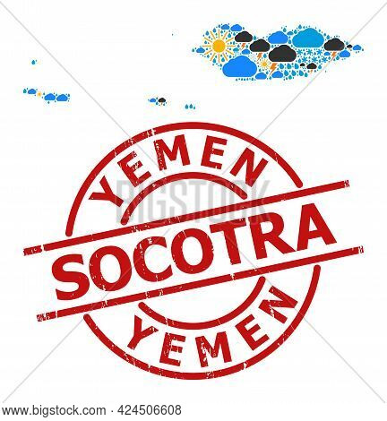 Climate Mosaic Map Of Socotra Archipelago, And Textured Red Round Stamp. Geographic Vector Mosaic Ma