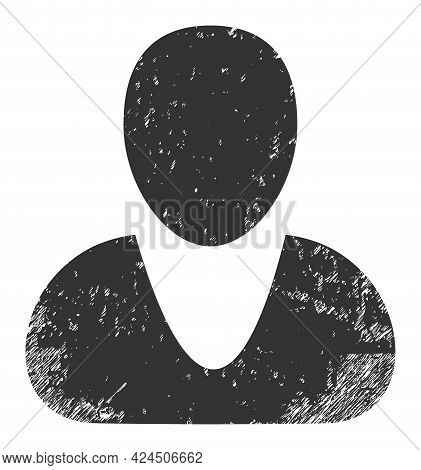 Guy Icon With Grunge Effect. Isolated Vector Guy Icon Image With Scratched Rubber Texture On A White