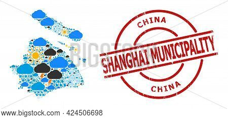 Climate Collage Map Of Shanghai Municipality, And Grunge Red Round Stamp Seal. Geographic Vector Col