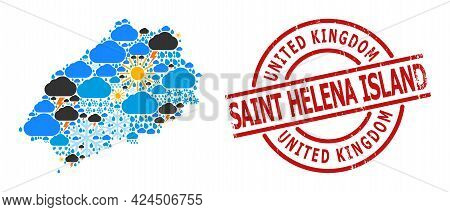 Weather Pattern Map Of Saint Helena Island, And Distress Red Round Badge. Geographic Vector Concept