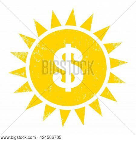 Dollar Shine Icon With Scratched Effect. Isolated Vector Dollar Shine Icon Image With Scratched Rubb
