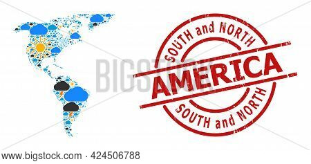 Weather Collage Map Of South And North America, And Textured Red Round Badge. Geographic Vector Coll