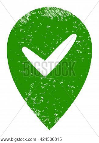 Valid Place Icon With Grunge Effect. Isolated Vector Valid Place Icon Image With Grunge Rubber Textu
