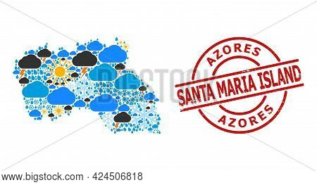 Weather Mosaic Map Of Santa Maria Island, And Distress Red Round Stamp. Geographic Vector Mosaic Map
