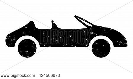 Cabriolet Car Icon With Scratched Effect. Isolated Vector Cabriolet Car Icon Image With Scratched Ru