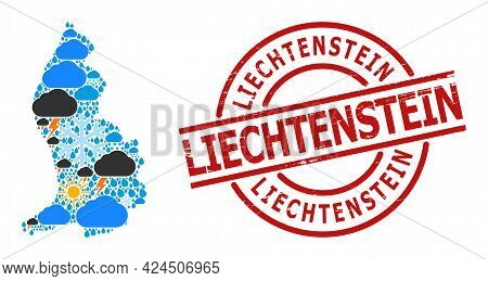 Weather Mosaic Map Of Liechtenstein, And Grunge Red Round Stamp Seal. Geographic Vector Mosaic Map O