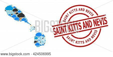 Weather Collage Map Of Saint Kitts And Nevis, And Distress Red Round Stamp. Geographic Vector Collag