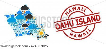 Weather Collage Map Of Oahu Island, And Textured Red Round Seal. Geographic Vector Collage Map Of Oa