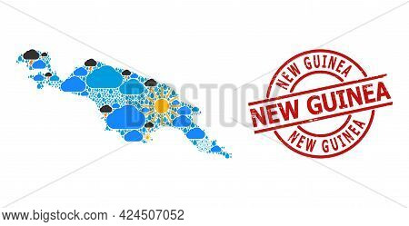 Weather Pattern Map Of New Guinea Island, And Textured Red Round Badge. Geographic Vector Mosaic Map