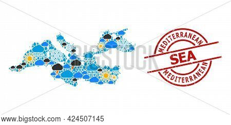 Weather Mosaic Map Of Mediterranean Sea, And Distress Red Round Seal. Geographic Vector Mosaic Map O