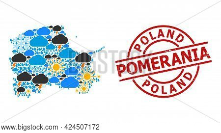 Climate Mosaic Map Of Pomerania Province, And Textured Red Round Stamp Seal. Geographic Vector Colla