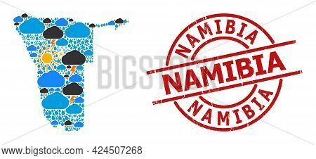 Climate Collage Map Of Namibia, And Scratched Red Round Seal. Geographic Vector Collage Map Of Namib