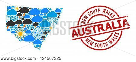Climate Mosaic Map Of New South Wales, And Rubber Red Round Stamp. Geographic Vector Mosaic Map Of N