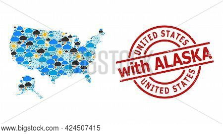 Weather Collage Map Of Usa And Alaska, And Grunge Red Round Badge. Geographic Vector Mosaic Map Of U