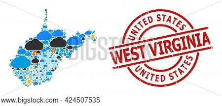 Weather Mosaic Map Of West Virginia State, And Grunge Red Round Badge. Geographic Vector Mosaic Map