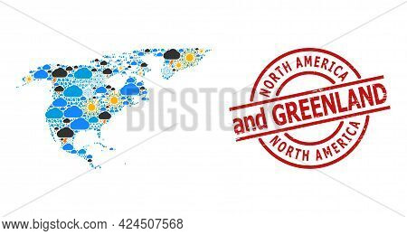Weather Mosaic Map Of North America And Greenland, And Textured Red Round Seal. Geographic Vector Co