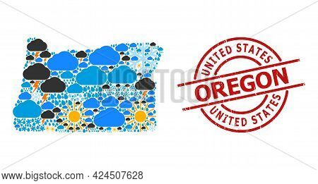 Climate Mosaic Map Of Oregon State, And Textured Red Round Badge. Geographic Vector Collage Map Of O