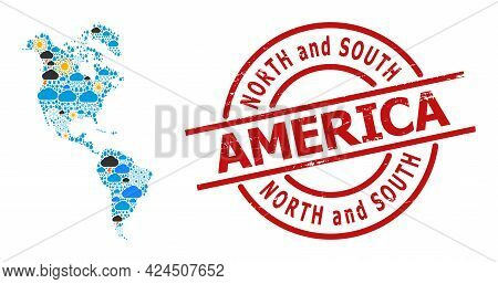 Weather Mosaic Map Of South And North America, And Distress Red Round Seal. Geographic Vector Collag