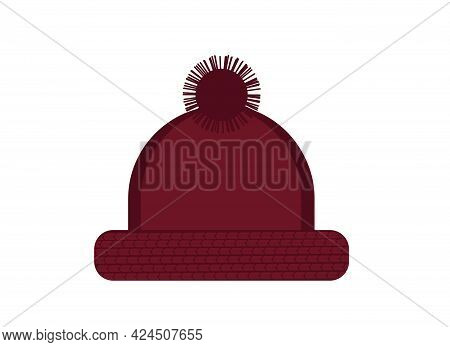 Vector Illustration Of Dark Red Warm Knitted Hat With Pompom