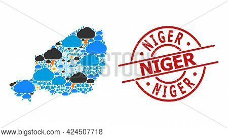 Weather Collage Map Of Niger, And Distress Red Round Seal. Geographic Vector Collage Map Of Niger Is