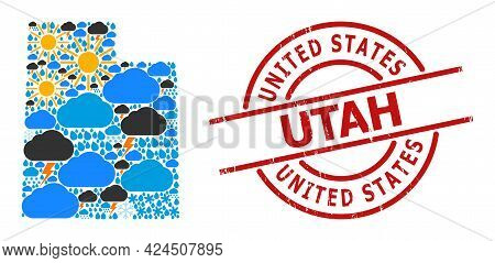 Weather Collage Map Of Utah State, And Grunge Red Round Stamp. Geographic Vector Collage Map Of Utah