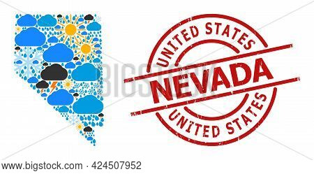 Climate Collage Map Of Nevada State, And Textured Red Round Stamp. Geographic Vector Collage Map Of