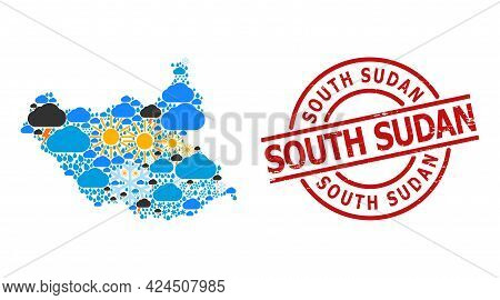 Weather Collage Map Of South Sudan, And Scratched Red Round Seal. Geographic Vector Mosaic Map Of So