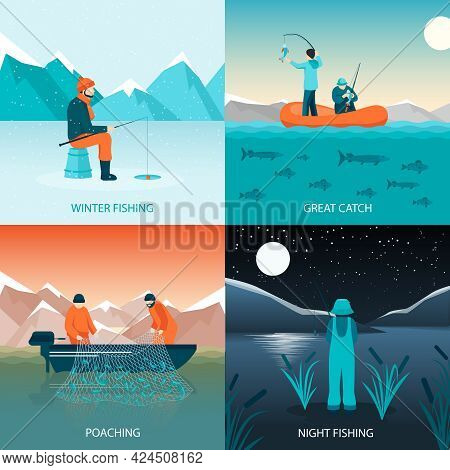Fishing 2x2 Design Concept Flat Square Icons Set With Winter Fishing Great Catch Poaching And Night