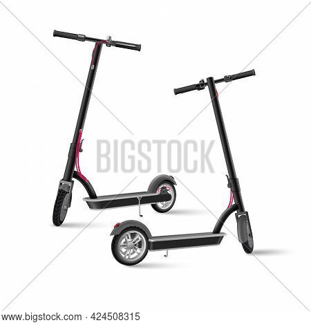 Black Electric Kick Scooter On White Background Realistic Vector Illustration.
