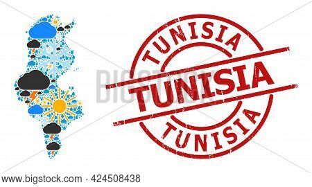 Climate Collage Map Of Tunisia, And Rubber Red Round Badge. Geographic Vector Collage Map Of Tunisia