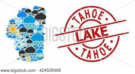 Climate Mosaic Map Of Tahoe Lake, And Textured Red Round Seal. Geographic Vector Composition Map Of