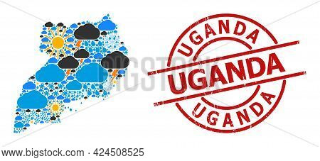 Climate Collage Map Of Uganda, And Grunge Red Round Stamp Seal. Geographic Vector Concept Map Of Uga
